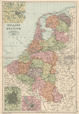 BELGIUM & NETHERLANDS w/ battlefields/dates. Amsterdam Brussels. BACON, 1903 map